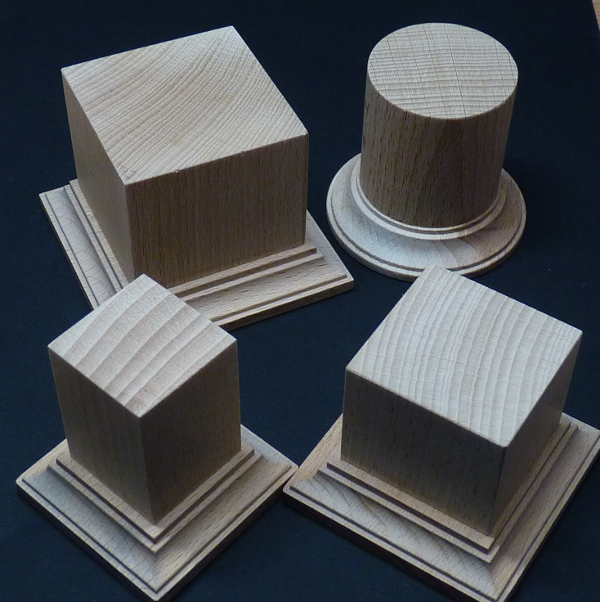 Crazy Wenky plinths in 30, 40 and 50mm square and 40mm round.